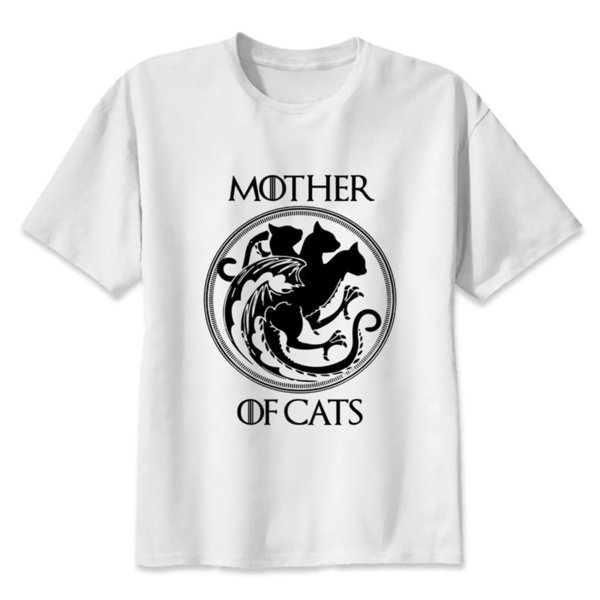 mother of cats T-shirt men summer t-shirt boy print tshirt anime t shirt brand clothing white color tops tees MMR531