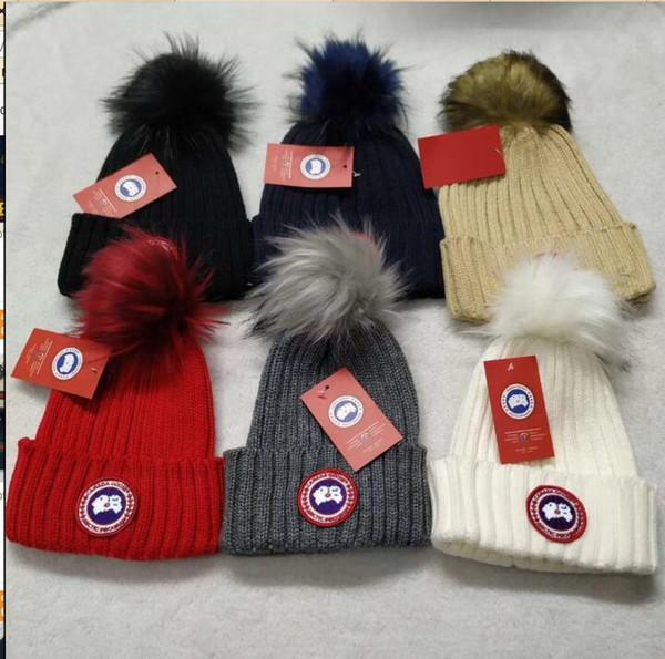 2019 New mon hat Winter Brand classcal women knitted hat men fashion beanies big fur pom-pom gorro boy casual ski girls skull caps wholesale