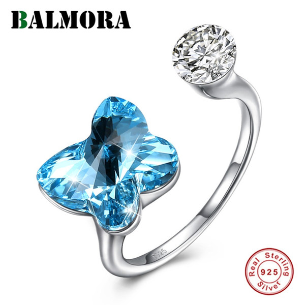 BALMORA 925 Sterling Silver Dazzling Crystal Butterfly Open Rings for Women Lady Party Gift Fashion Ring Jewelry Anillos SVR287