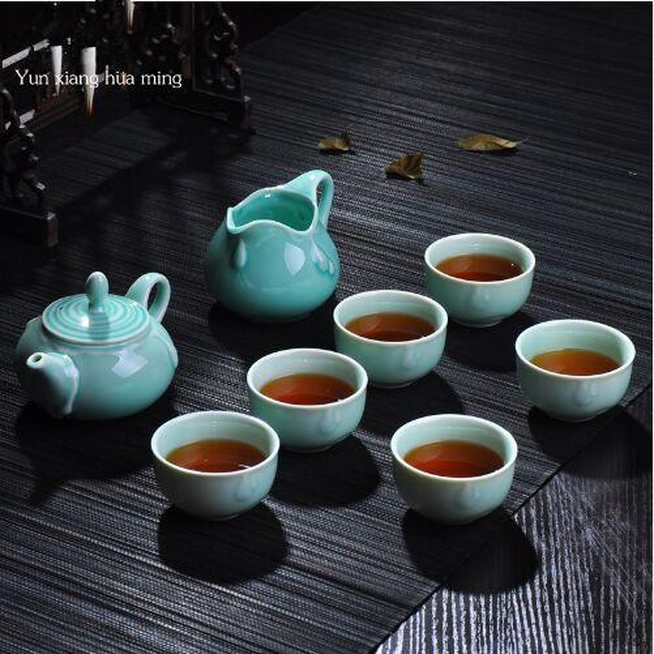 8 pcs Kung Fu Tea Set Classical Chinese Ceramic Tea Cups Gaiwan for gifts drinkware Ceramic Tea set One teapot two cups