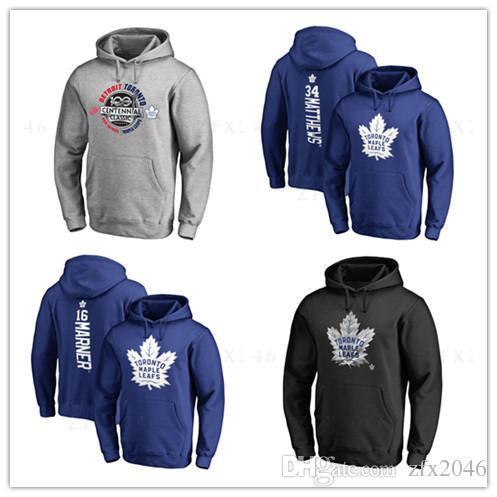 34 # argile matthews Nouveaux maillots de hockey des Maple Leafs de Toronto pour hommes marqués Noir Gris Sweat à capuche Sport à manches longues Vêtements de plein air Vestes imprimées