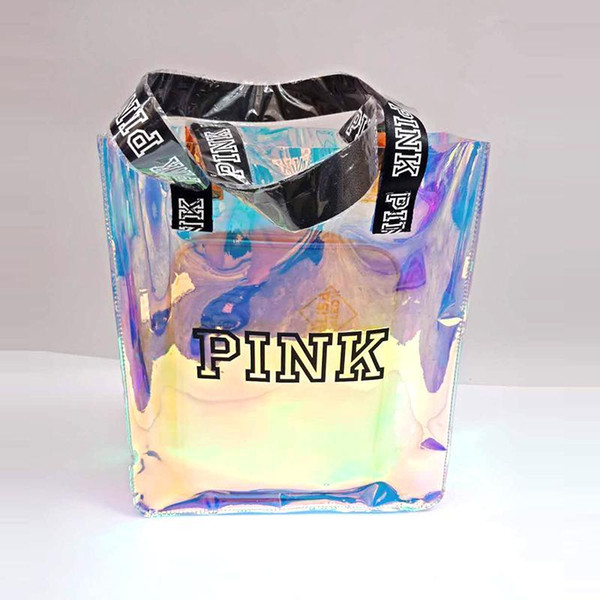 Bolso rosado de la letra bolso de compras transparente de la descoloración del laser bolsos de hombro de la moda del estudiante