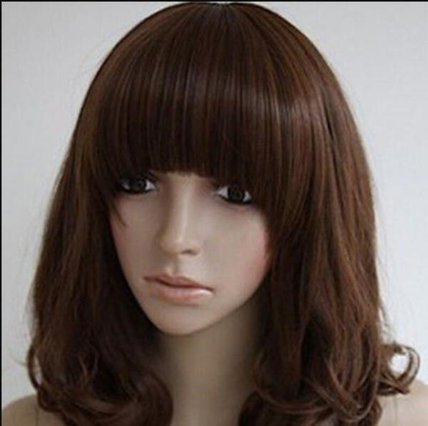 Perücke Versand Perücke Frauen Locken Temperament Reparatur Gesicht lebensechte Haare Birne Kopf Perücke dunkelbraun
