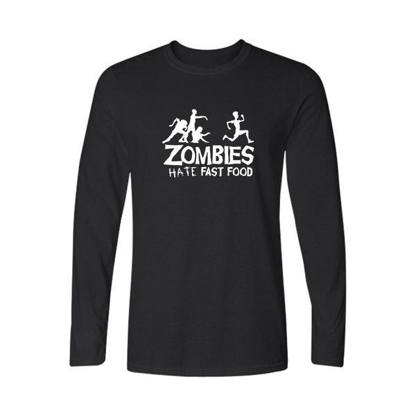 Горячая распродажа зомби серии мужская футболка мода черный хлопок с длинным рукавом футболки мужчины хип-хоп зомби серии Xxs-3xl