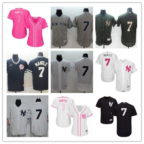 74b144301 2019 custom Men's women Yankees 7 Mickey Mantle New YorkNavyWhite  Cooperstown Collection Iconic Player Name &