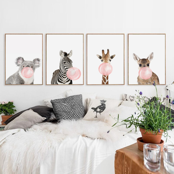 Bulle Chewing-Gum Girafe Zèbre Animaux Posters Toile Art Peinture Mur Art Pépinière Photo Décorative Style Nordique Enfants Déco