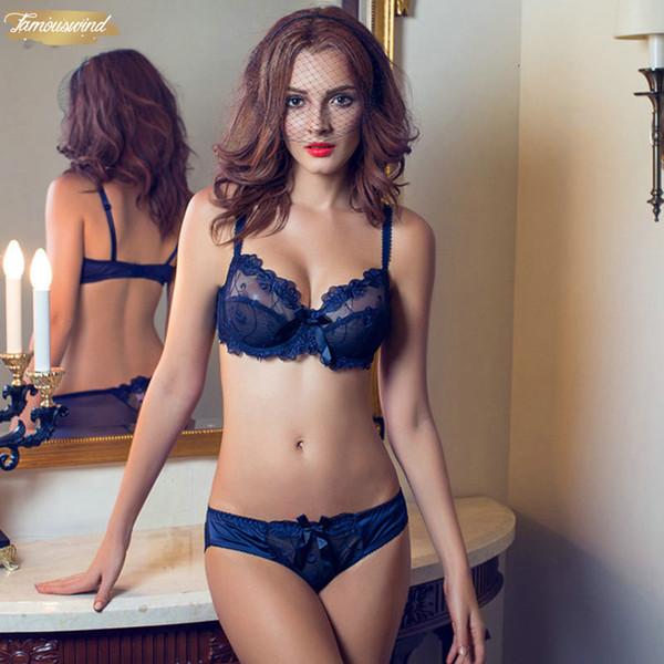 Vs novíssimo Bordados Bras Underwear mulheres mais sexy Cup ultrafinos Lace Transparent Bra Set Calcinhas Lace Bra Set