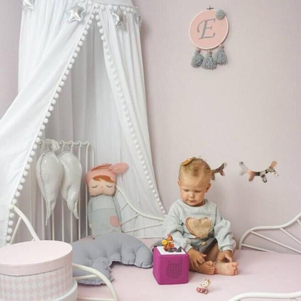 Gran tamaño del color sólido del verano de los niños de los niños ropa de cama mosquito neta bebé romántico cubierta de cama cama con dosel para niños vivero