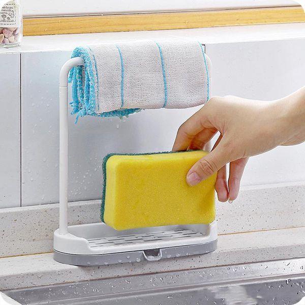 2019 Sink Sponge Holder Drain Dry Towel Organizer Shelf Bathroom Kitchen  Sink DishCloth Hanging Rack Multi Function From Sunflowerxiangyang, $1.84 |  ...