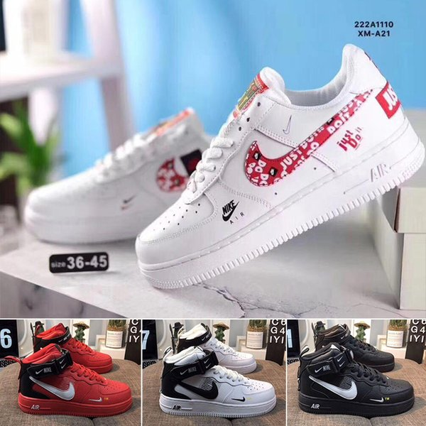 top popular New 1 Utility Classic Black White red Dunk Men Women running Shoes one Sports Skateboard High Low Cut Wheat Trainers Sneakers size B55F 2020