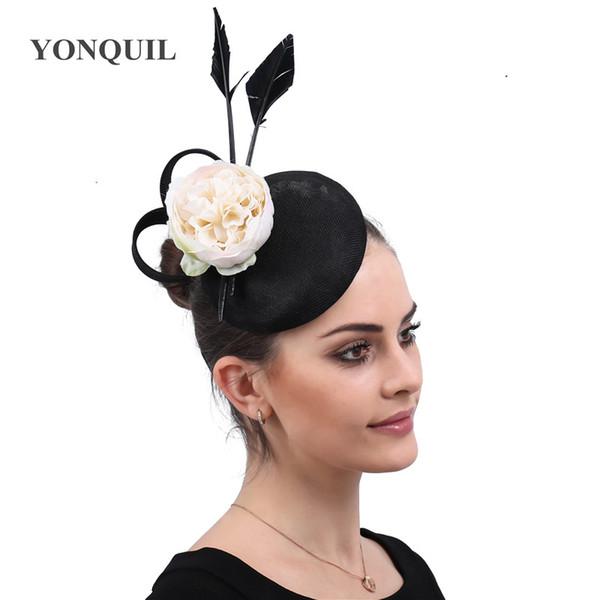Charming Flower Fascinator Hats Vintage Race Wedding Headpiece Black Fedora Cocktail Tea Party Church Hats Hair Clips Accessory free ship