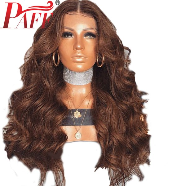 PAFF Brown Color Lace Front Human Hair Wigs Body Wave with Baby Hair Remy Malaysia Hair Middle Part Bleached Knots