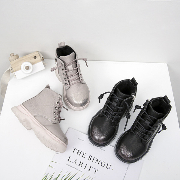pile side zipper kid's martin boots 2019 autumn/winter new korean version of boys and girls low tube solid color children's boot