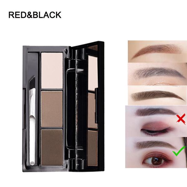 Redblack 3 couleurs palette de poudre à sourcils imperméable Ombre naturelle mate avec miroir brosse pinceau yeux maquillage poudre Maguiagem