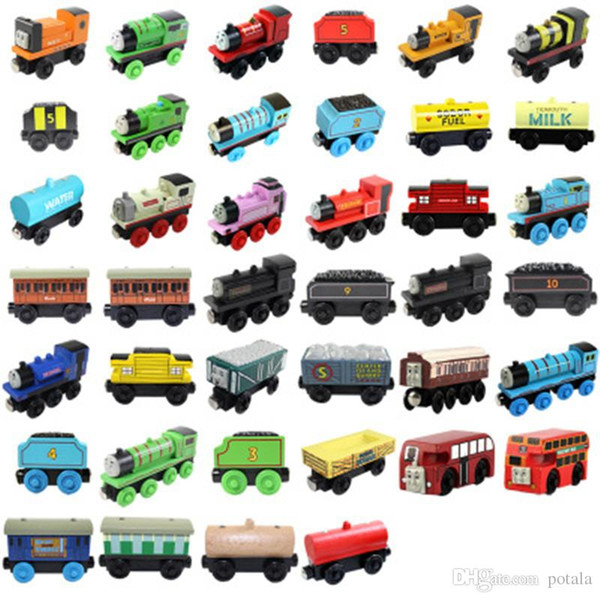 Wooden Small Trains magnetic Cartoon Toy 40 Styles opp bag Trains Friends Trains&Car Toys Bus Best Christmas Thomas Diecast Model Kids Toys