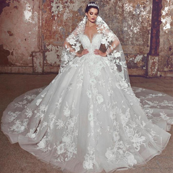 best selling 2020 Modern Lace Flowers A Line Wedding Dresses Plus Size Bridal Dress Backless Sheer Neck Pearls Beaded Bride Ball Gown