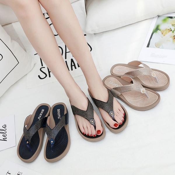 88a81f622e HEE GRAND Wedges Slipper Women Summer Shoes 2019 T-Strap Flip Flops Bling  Wedges Platform