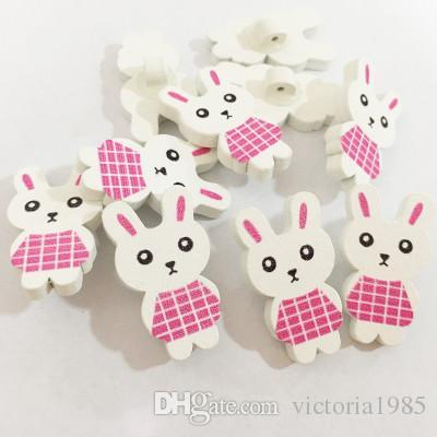 100pcs/lot New cartoon colorful wooden Buttons for crafts DIY Cute rabbit animal buttons sewing button scrapbooking buttons
