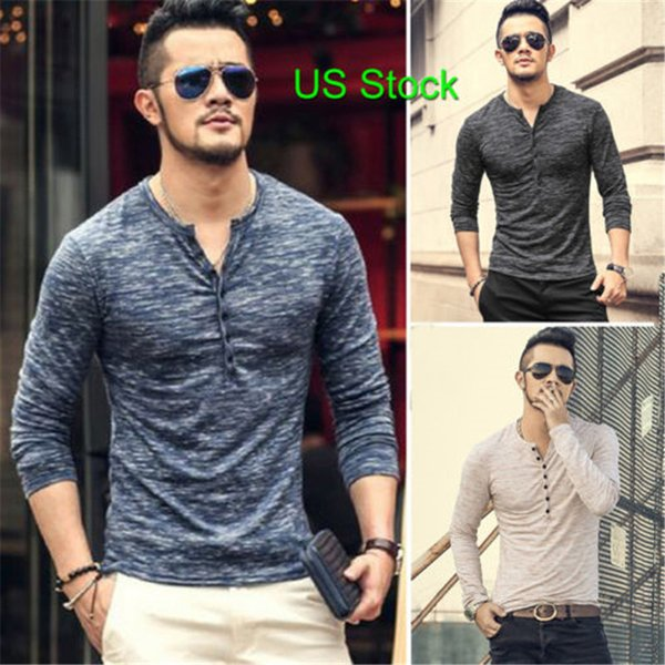 new arrival fashion man muscle long sleeve blouse vneck line relaxation slim fit t shirt