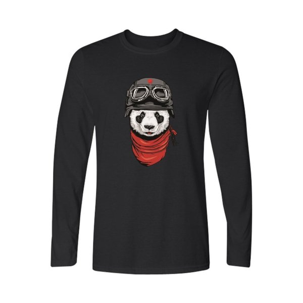 Hot Fashion Panda Black Cotton T Shirt Men Funny White Long Sleeve T Shirt Panda Men T Shirt Tops Xxs-3xl