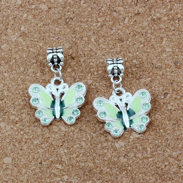 50pcs/lots Green Enamel Butterfly Alloy Dangle Charm Beads Fit Charm necklace DIY Accessories 22x32.5mm A-504a