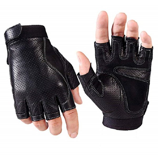 Mens Fingerless Faux Leather Driving Gloves The Palm With Pad Half Finger Porous Cycling Motorcycle Fitness Outdoor Sport Gloves