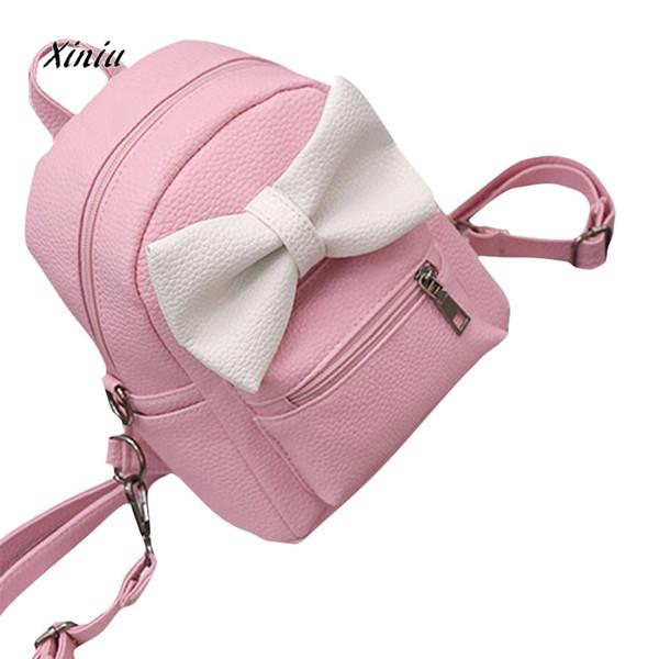 2019 Borsa da donna in pelle PU Borsa da spalla in pelle Stile coreano Cute Bow College Wind Girl Piccolo zaino da viaggio Satchel Zaino