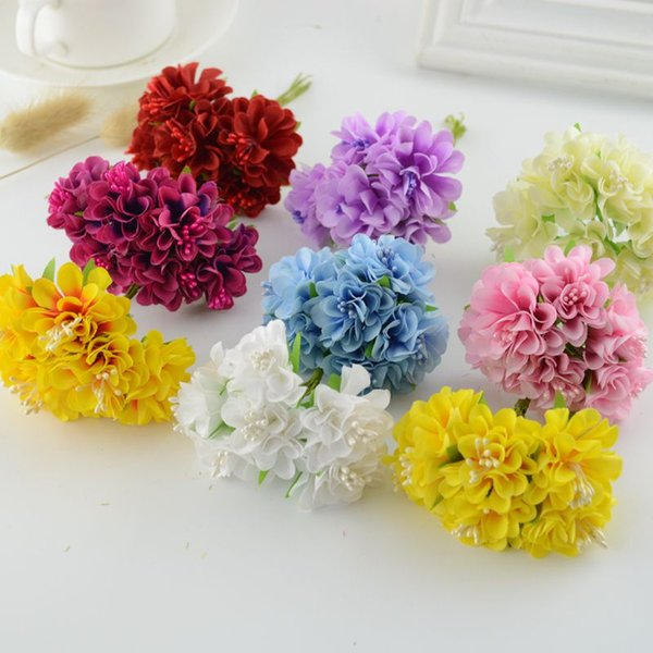 6 adet ipek Karanfiller Yapay çiçekler düğün dekorasyon el sanatları için DIY Gelin buketi Hediye Scrapbooking çelenk Sahte Çiçek