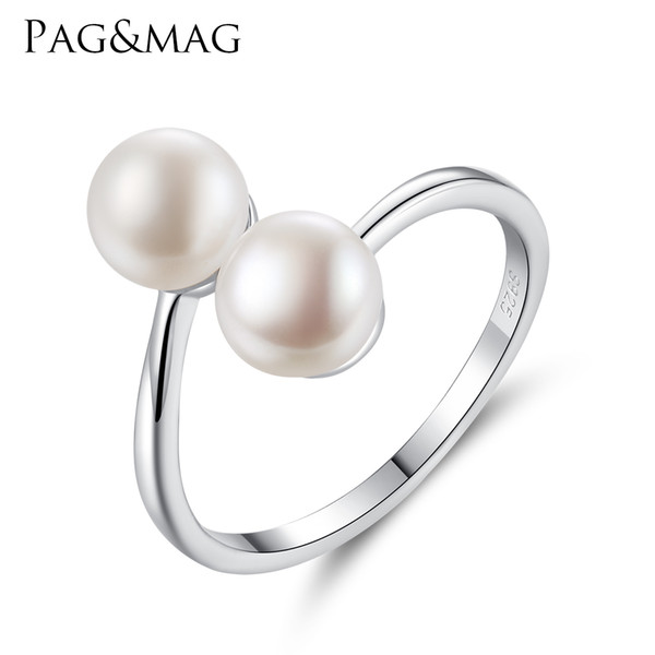PAG&MAG Genuine 925 Sterling Silver Open Rings for Women Fascinating Natural Pearl White Gold Color Simple Rings Fine Jewellery