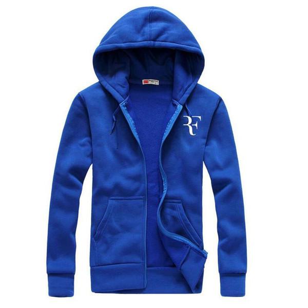 Wholesale- Fashion Roger Federer RF-Druck Hoodies Men Casual Hip Hop-Langarm-Männer Reißverschluss Hoodie Sweatshirts Mann Hoody Kleidung