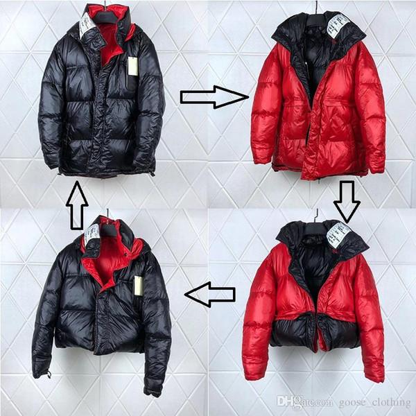 Vetements Veste en duvet double face noire et rouge Goose Une pièce pour homme, vêtement quatre, portant une veste coupe-vent résistant au vent Livraison DHL