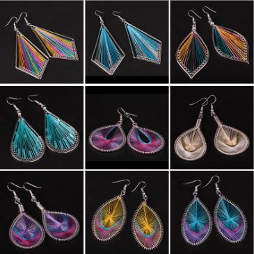 Women Thread Tassel Dangle Earrings Silk Fringe Thread Alloy Drop Earrings Novelty Silk Thread Dangle Drop Earrings