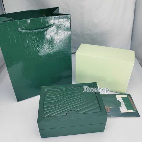 Best Quality Luxury Dark Green Watch Box Gift Case For Rolex Watches Booklet Card Tags And Papers 0.8KG Swiss Top Brand Watches Boxes