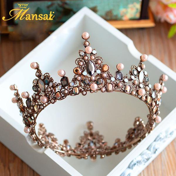 Hot Sale Luxury Vintage Tiara Crown Queen Tiaras Round European Wedding Tiaras Bronze Large Crowns Cosplay Hair Jewelry Hg296 C19041101