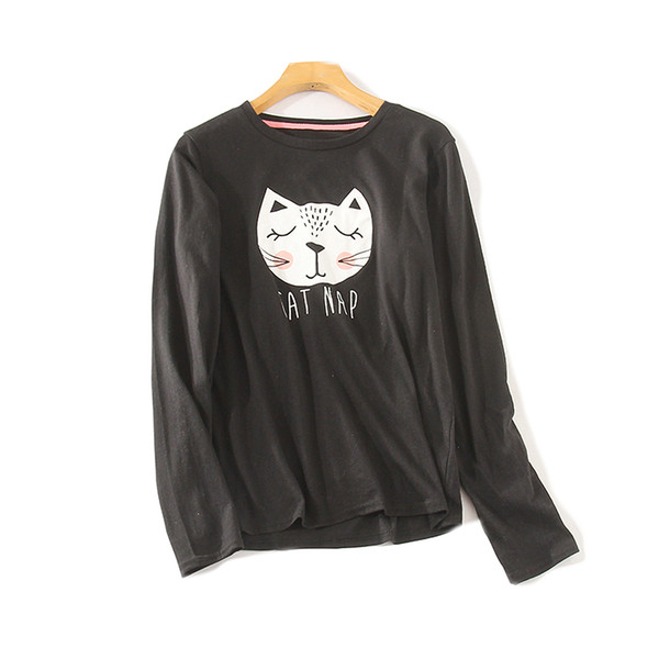 Spring New Women's Cute Cat Print Long-sleeved T-shirt Loose Simple and Comfortable Home Top Kitty