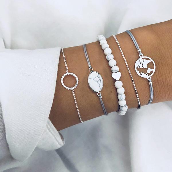 5 Pcs/ Set Female Retro Map Heart Love Bead Round Gem Leather Chain Silver Bracelet Set Personality Girl Christmas Gift