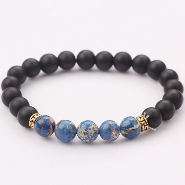 Factory Hot Sale Classic Design Handmade Elastic Natural Blue Stone Black Onyx Beads Bracelet 5PCS/Set