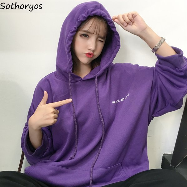 Hoodies Women Loose Korean Style Ulzzang Harajuku Soft Solid Womens High Quality Female Casual Long Sleeve Pullover Sweatshirts SH190823