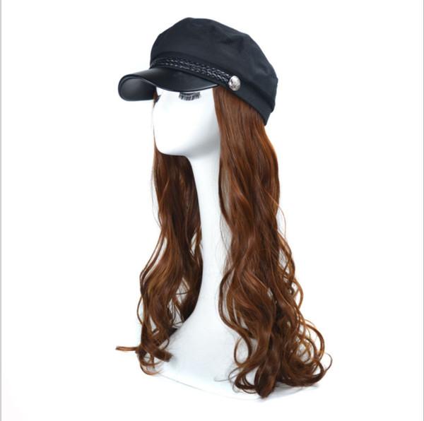 Navy cap hat wave wig cap long curly hat wig net red water wave volume hat wig