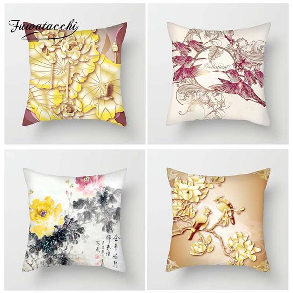Fuwatacchi Floral Cushion Covers Fiori e uccelli Throw Pillow Covers per la casa Divano camera da letto cinese dipinti stile federe federa