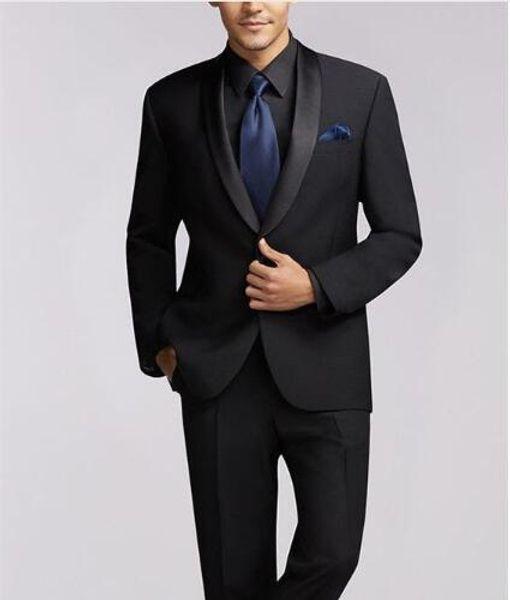 Последние Черный Дизайн Мужские Костюмы Шаль Отворот Жених Костюм Slim Fit Мужские Свадебные Костюмы Жених Костюм Tailored Made Выпускной Костюм Две Части