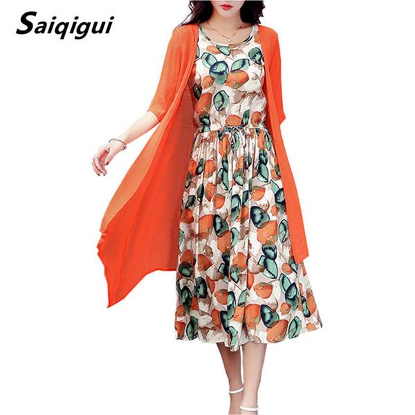 Saiqigui verão dress mulheres dress casual solto pedaço de reboque linha de algodão dress imprimir o pescoço plus size vestidos de festa m-5xl s19713
