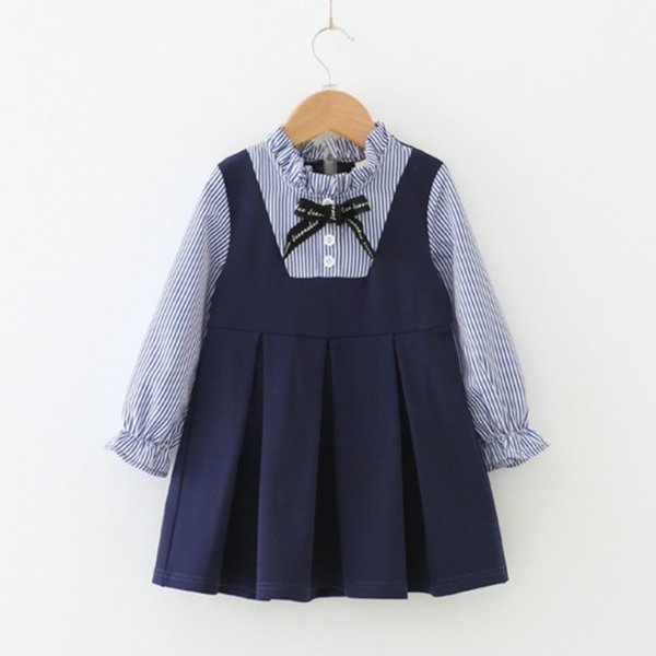 2019 Ins Childrens Clothes Preppy Style Girls Sweet Striped Dress Baby Girls Long Sleeve Pretty Bow Princess Dress