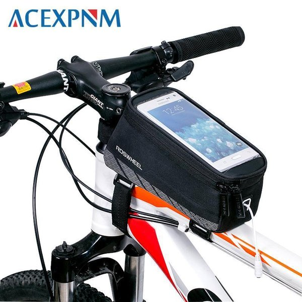 """Acexpnm Cycling Bicycle Bike Cell Mobile Phone Front Frame Tube Storage Bag Pannier Case Holder For 5.7"""" Inch Screen Phones"""