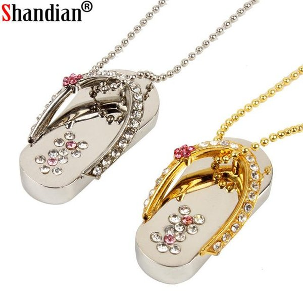 High quality metal crystal slippers USB Flash drive Memory stick usb Stick 4GB 8GB 16GB 32GB Pendrives girl's gift beauty shoes