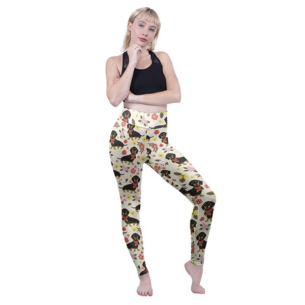 Women High Waist Leggings Floral Dachshund 3D Graphic Full Printed Workout Pencil Fit Lady Casual Trousers Girl Fitness Yoga Pants (Y601902)