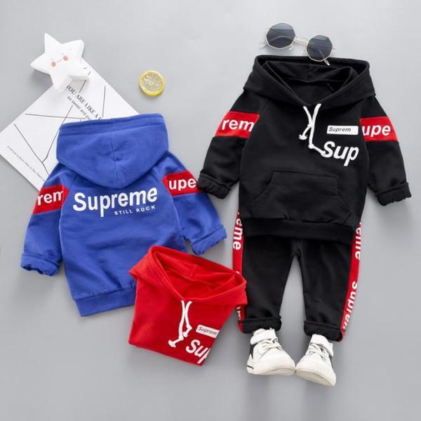 Crianças Baby Girl Roupas Set Carta Camisola Com Capuz Tops Calças de Algodão Quente 2 pcs Outfit Roupas Conjuntos