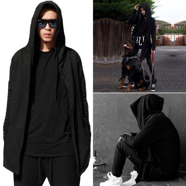 New Fashion Men Fashion Casual Long Sleeve Long Hooded Cloak Coat