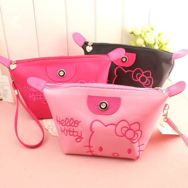 best selling Women Portable cute KT cat Multifunction Home Storage & Organization bag Beauty Zipper Travel Cosmetic Bag Makeup Case Toiletry Pouch Cases