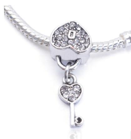 Fit Pandora Charm Bracelet Lock Key Heart CZ Crystal Grano de plata europea encantos de los granos DIY cadena de la serpiente para las mujeres del collar del brazalete de la joyería